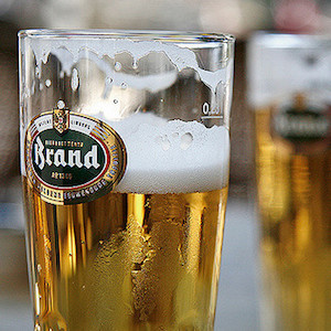 glass of beer with Brand logo